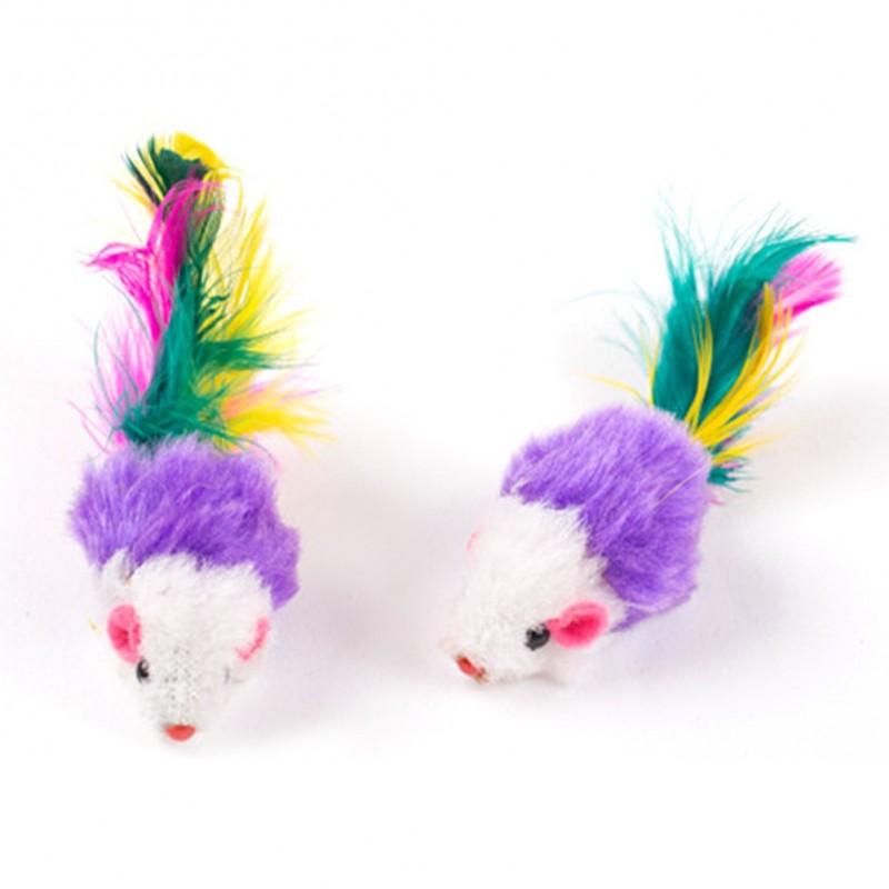 Myszki dla kota z piórkami 2 szt