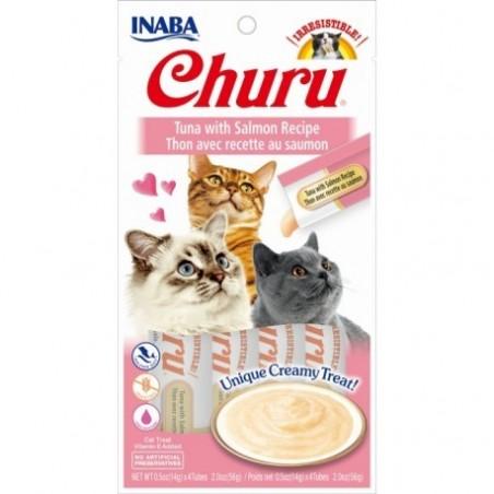 Churu przysmak dla kotów Tuńczyk i łosoś 4x14g