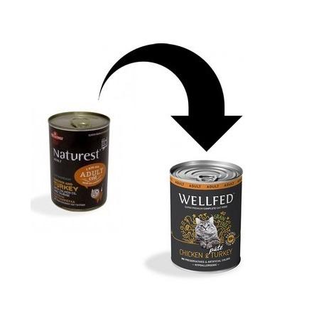 Naturest/Wellfed Kurczak i indyk z olejem z łososia i tauryną 400 g