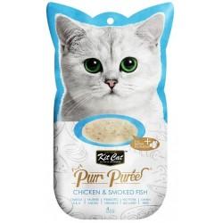 Kit Cat PurrPuree CHICKEN & SMOKED FISH - Kurczak & wędzona ryba 4x15g
