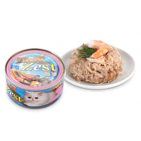 Princess Premium Zest Cat - Kurczak, Tuńczyk i Biała Krewetka Pacyficzna