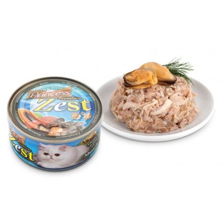 Princess Premium Zest Cat - Kurczak, Tuńczyk i Małże