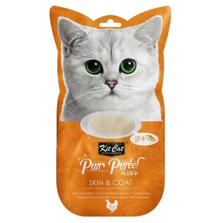 Kit Cat Purr Puree Plus+ Chicken & Fish Oil (Skin & Coat) 4x15g